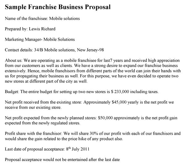 Franchise Business Proposal Template