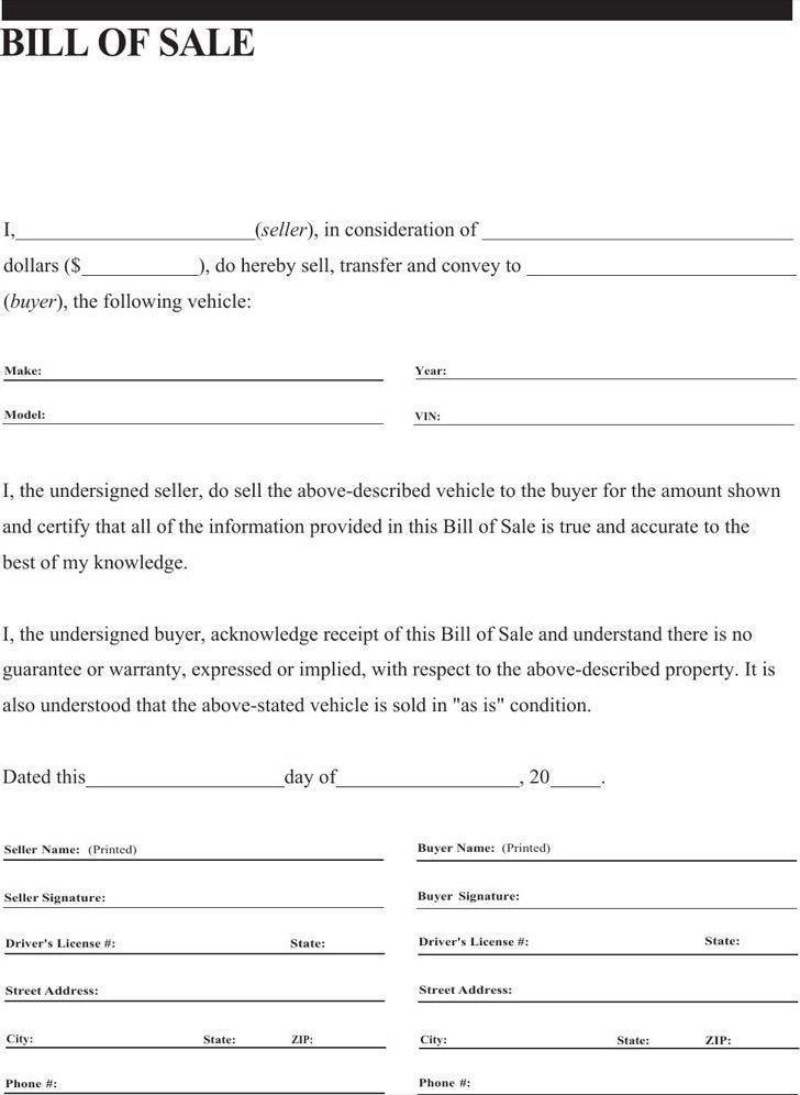 General Bill of Sale Form | Download Free & Premium Templates ...