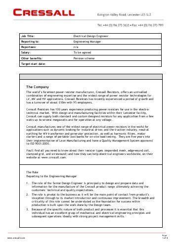 Design Engineer Job Description. Electrical Engineer Job ...