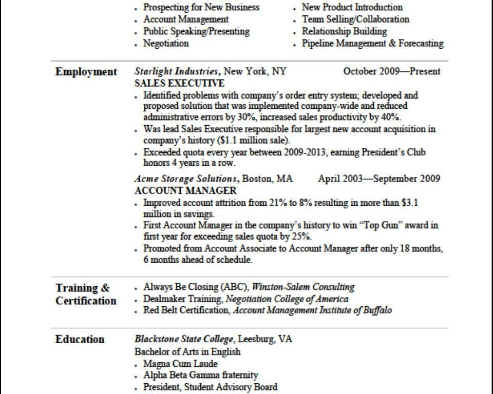 Effective Resumes Examples Resume Samples For All Professions And