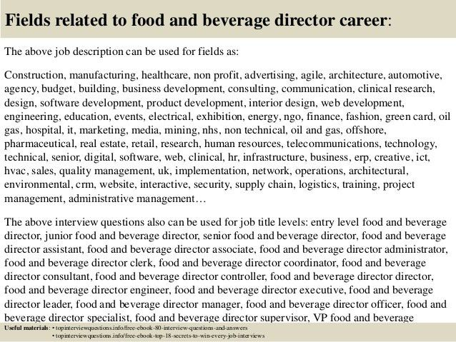 Top 10 food and beverage director interview questions and answers