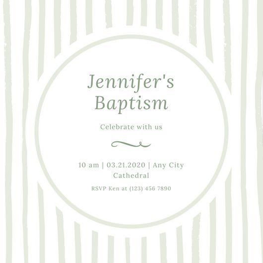 Mint and White Girl Baptism Invitation - Templates by Canva