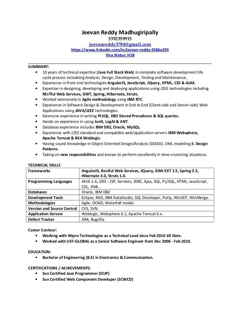java web sphere developer resume