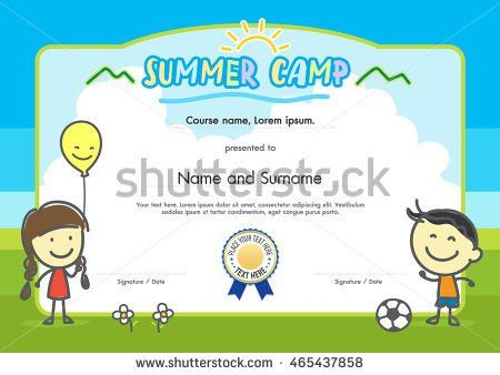 Kids Summer Camp Certificate Document Template Stock Vector ...