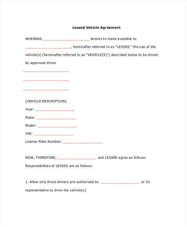 Free Sample Lease Agreement Free Lease Rental Agreement Forms Ez – Sample Vehicle Lease Agreement