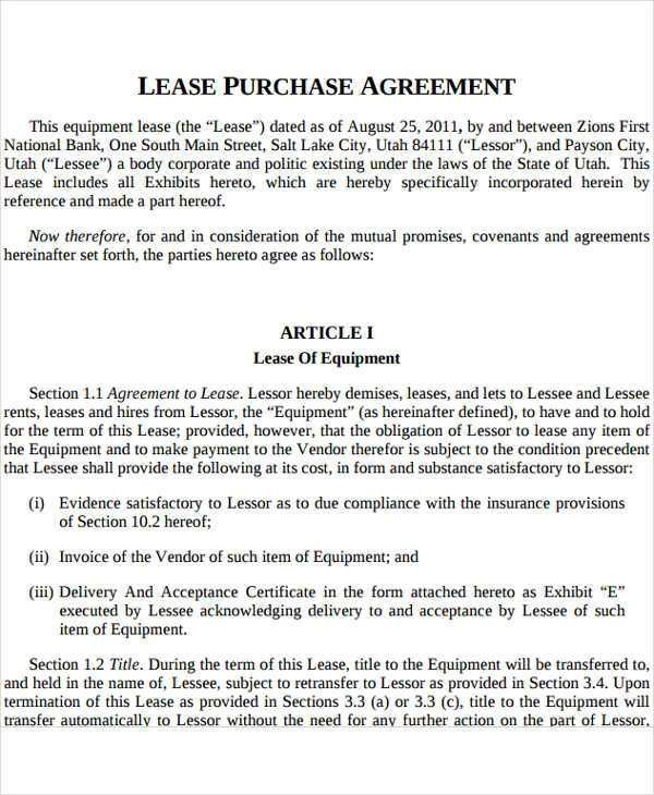 Rent-to-Own Contract Templates - 5+ Free Word, Excel, PDF ...