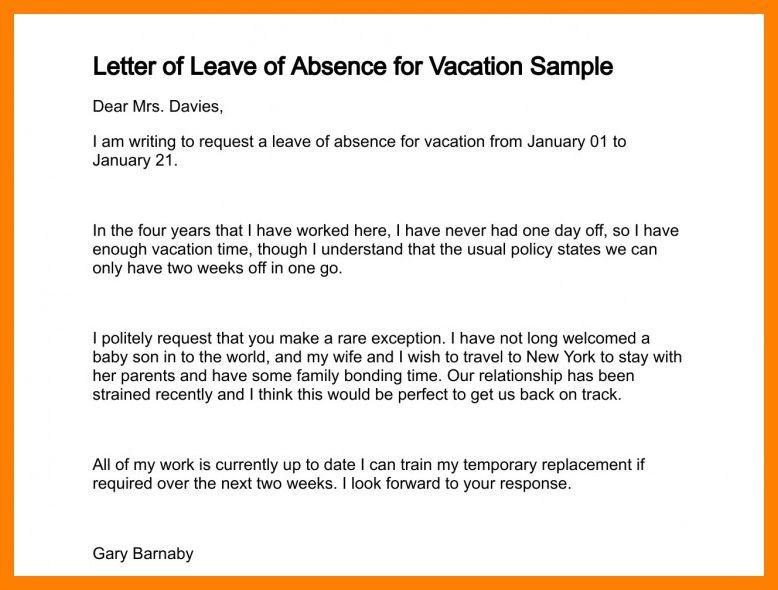 9+ sample vacation leave letter   packaging clerks