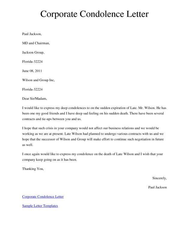 Corporate Condolence Message Letter Template and Sample : Helloalive