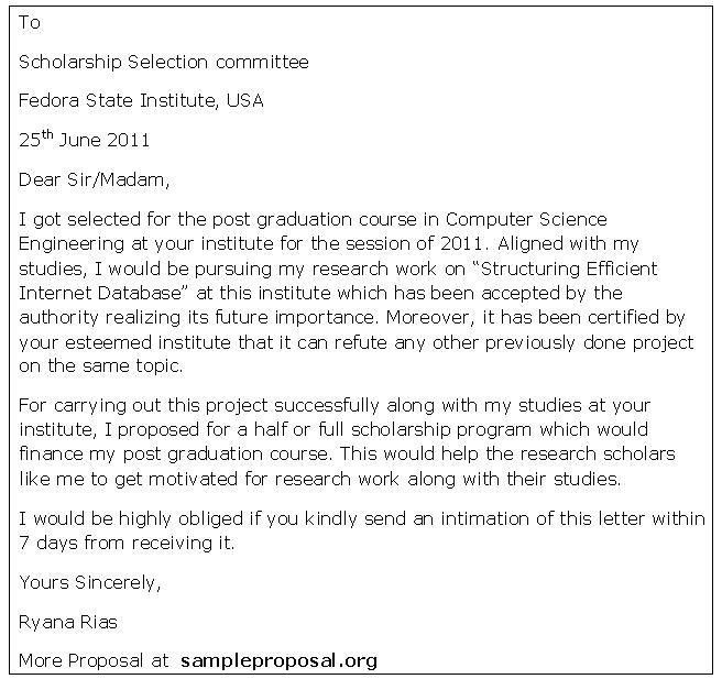 Scholarship Cover Letter Sample - My Document Blog