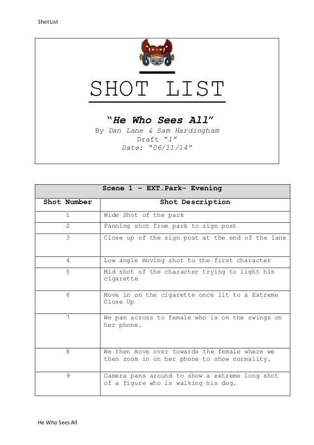 Example shot-list (1)