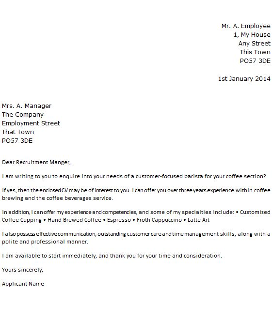 Barista Job Application Cover Letter Example - forums.learnist.org