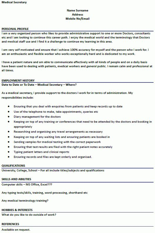 Medical Secretary CV Example - icover.org.uk