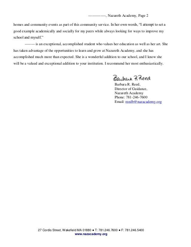Writing Sample for Reed Barbara Nazareth Academy Letter of reference