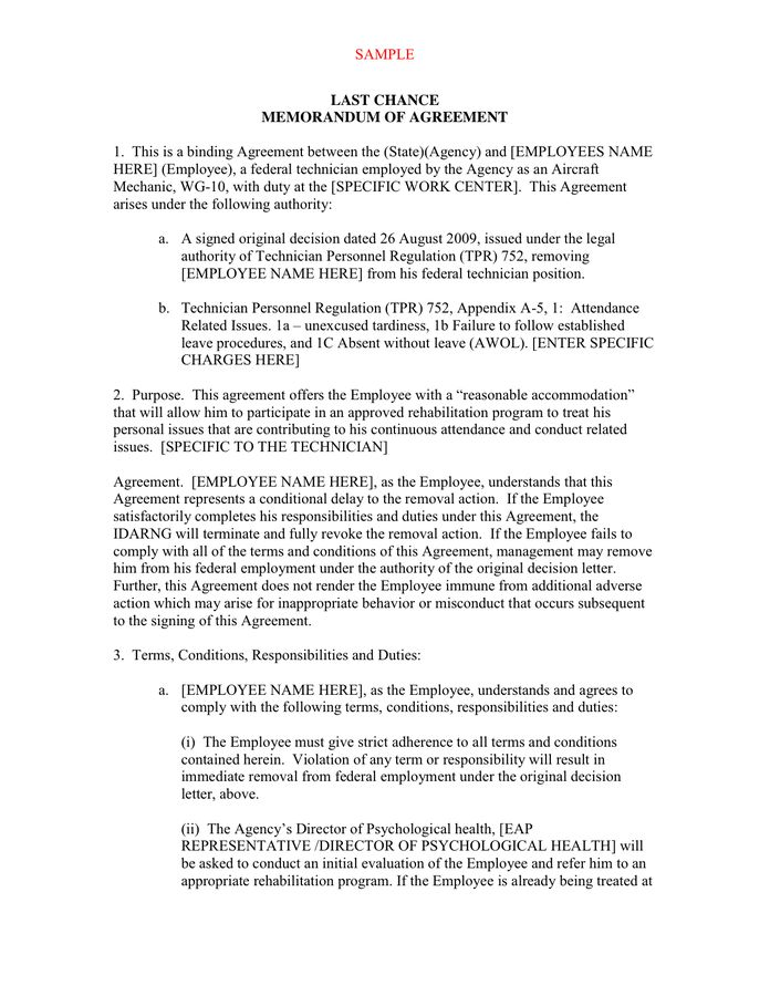 Memorandum of Agreement Template - download free documents for PDF ...