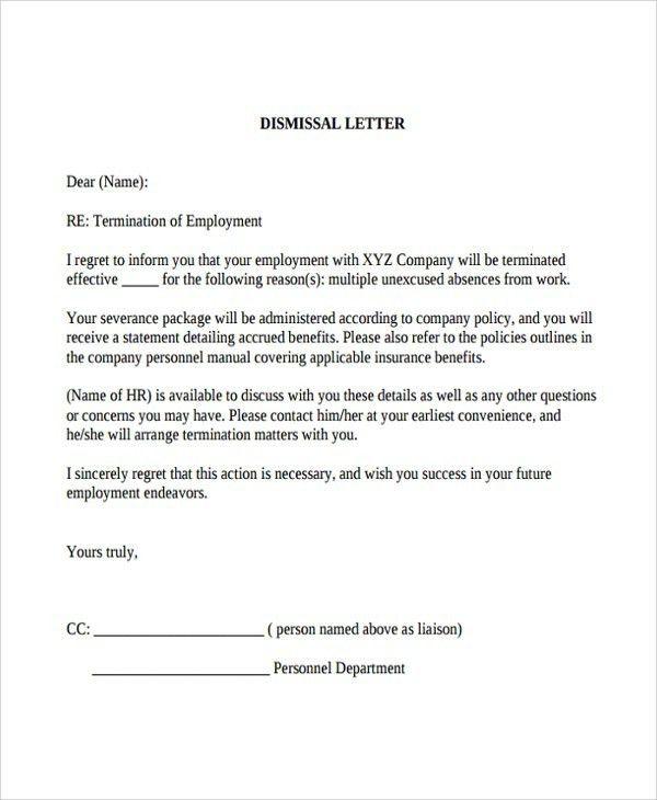 Employee Dismissal Letter Template | The Letter Sample