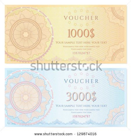 Voucher Template Guilloche Pattern Watermarks Border Stock Vector ...