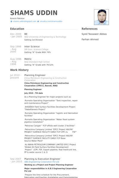 Planning Engineer Resume samples - VisualCV resume samples database