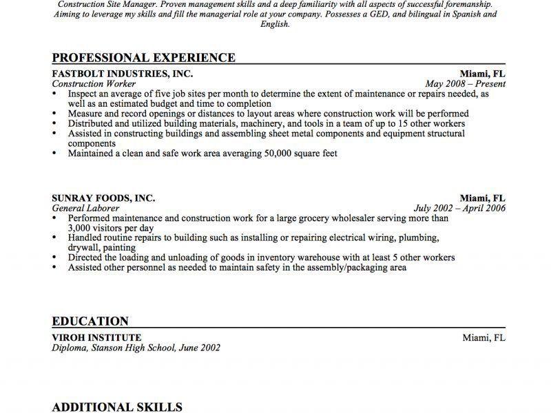 construction work resume