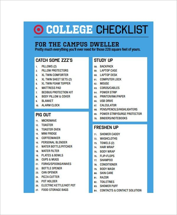 11+ College Checklist Templates - Free Sample, Example, Format