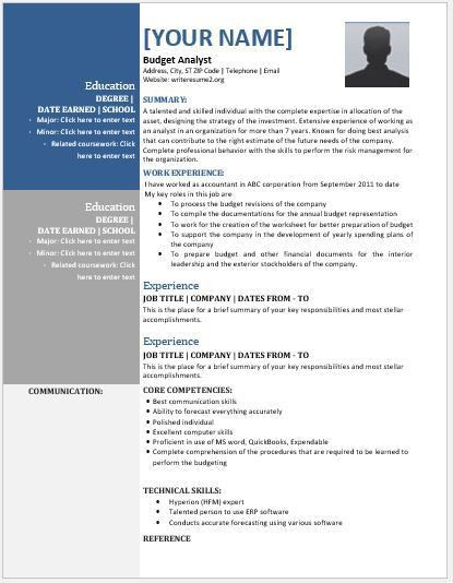 Budget Analyst Resume Contents, Layouts & Templates | Resume Templates