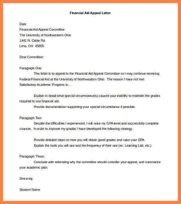 9+ student appeal letter for financial aid | Appeal Letter 2017