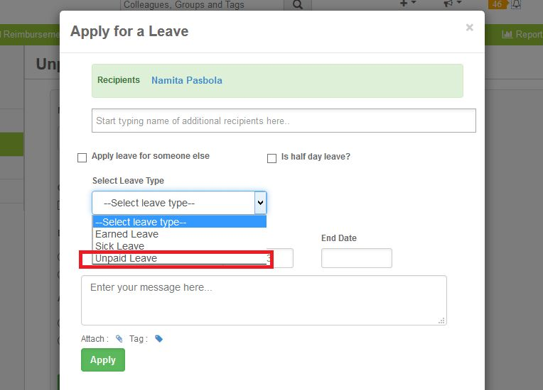 Update for sumHR's Online Leave Management System: Unpaid Leave Type