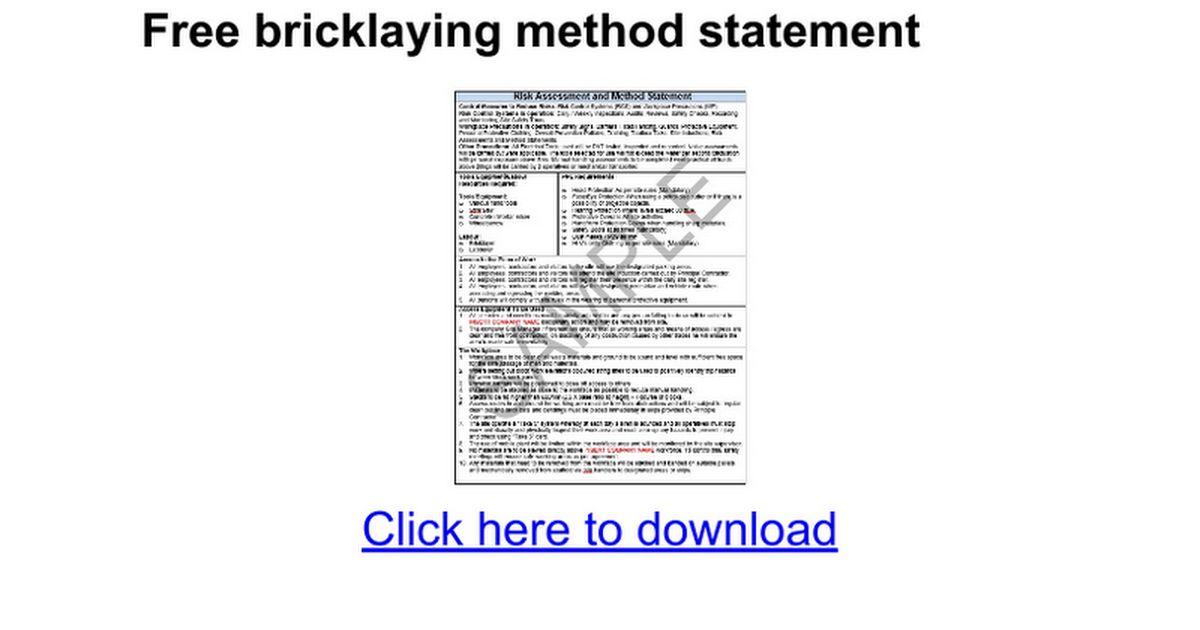 Free bricklaying method statement - Google Docs