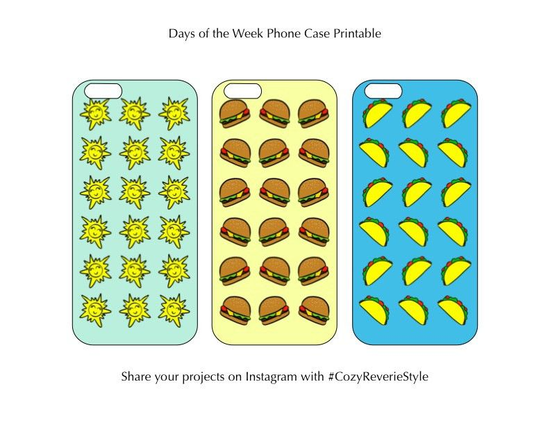 Free Printable: Days of the Week Phone Cases - Cozy Reverie