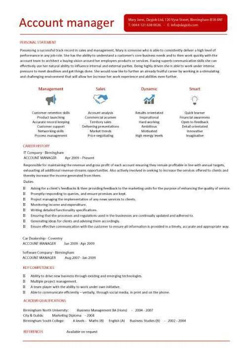 Account manager CV template, sample, job description, resume ...