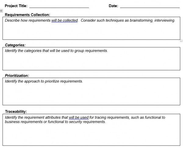Requirement Management Plan Template – Planning Engineer Est.