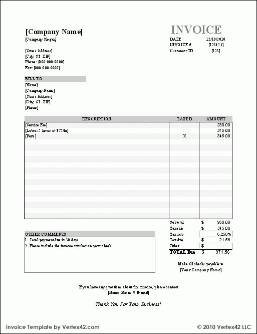 Free Small Business Labor Invoices | Free Invoice Template ...