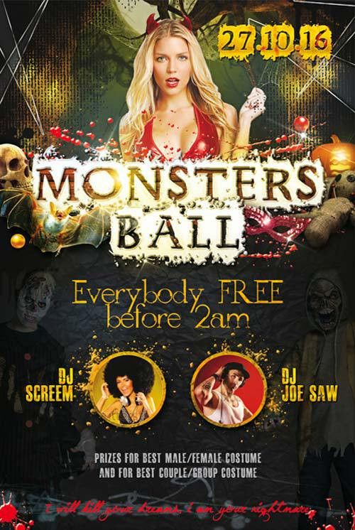 Monsters Ball Party Free PSD Flyer Template - Download for Photoshop