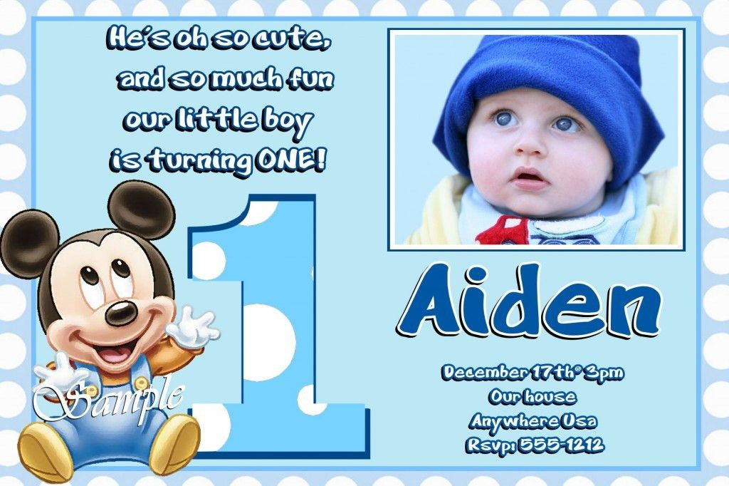 Mickey Mouse 1st Birthday Invitations Ideas – Bagvania FREE ...