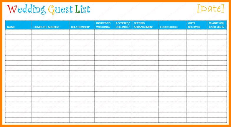 free guest list template