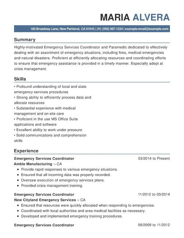 Emergency Services Functional Resumes - Resume Help