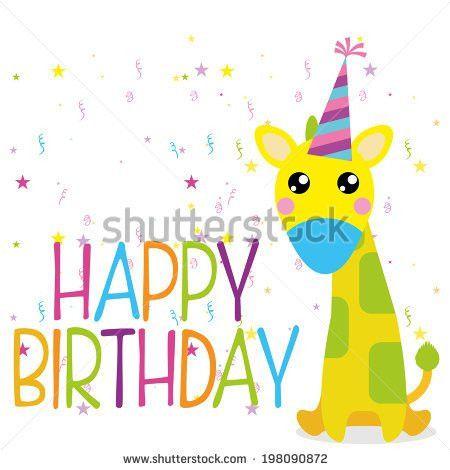 Vector Cute Happy Birthday Card Template Stock Vector 198090863 ...