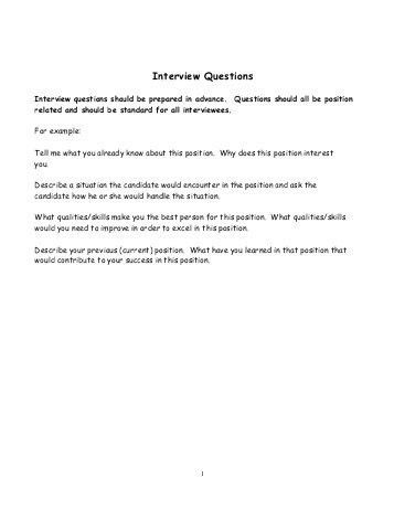 Appendix VIII Sample Interview Questions - The University of Scranton