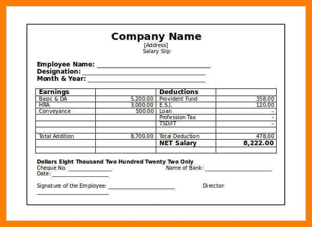 6+ simple salary slip format without deductions | joblettered