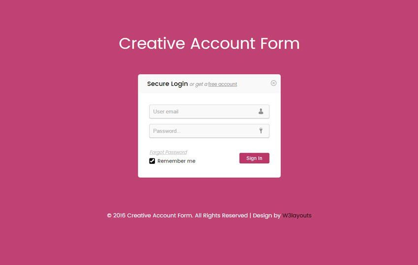 Creative Account Form Responsive Widget Template - w3layouts.com