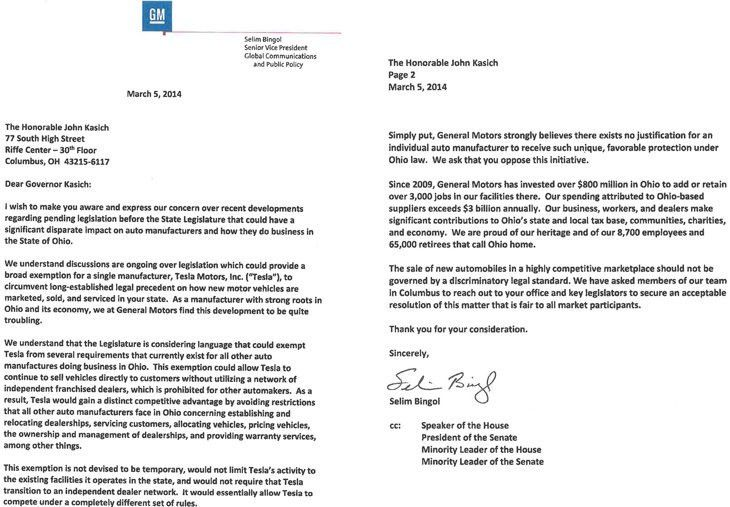 General Motors Sends Anti-Tesla Direct Sales Letter to Ohio ...