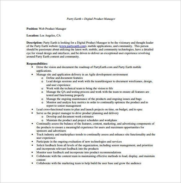 12+ Product Manager Job Description Templates - Free Sample ...