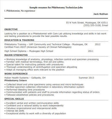 Sample Phlebotomy Resume Examples, Entry Level Phlebotomy Resume ...