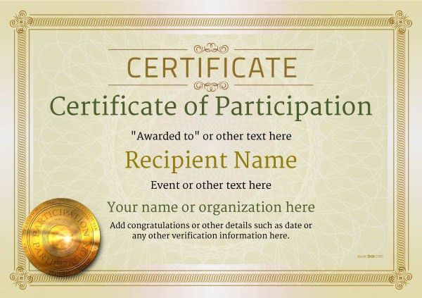 Certificate Of Participation Format | Manager.billybullock.us