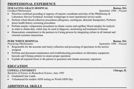 Phlebotomy Resume Sample No Experience - Reentrycorps
