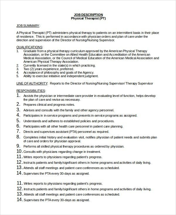 Sample Physical Therapist Job Description - 9+ Examples in PDF, Word