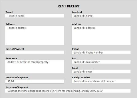 Free Receipt Forms | Free and Business planning