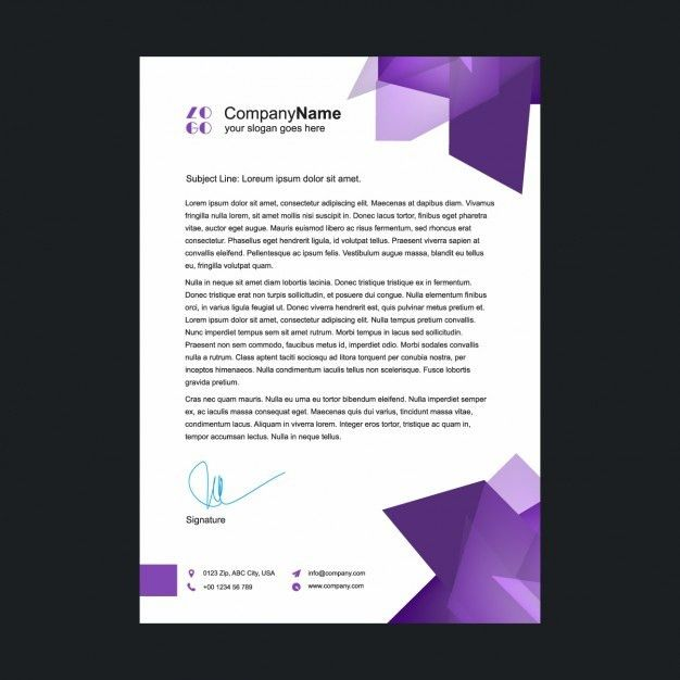 Purple letterhead template Vector | Free Download