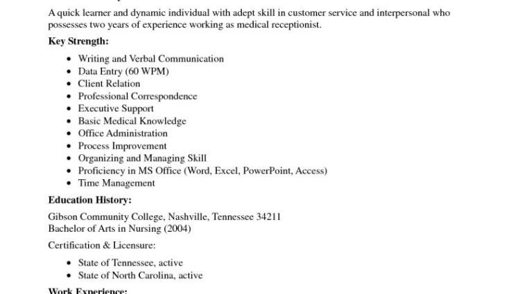 medical receptionist resume with no experience - Writing Resume ...