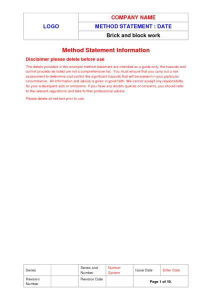 Brick & Blockwork Method Statement Example to Download