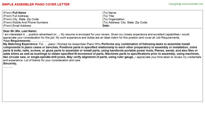 Assembler Piano Cover Letter